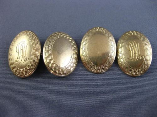 ANTIQUE 14KT YELLOW GOLD 3D CLASSIC HANDCRAFTED FILIGREE DOUBLE SIDED CUFF LINK