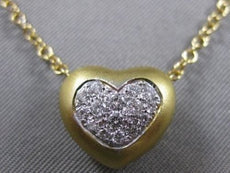 SIGNED LEO PIZZO DIAMOND 18K WHITE YELLOW GOLD PUFF HEART PENDANT + CHAIN #21247