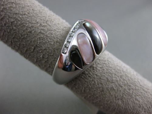 ESTATE WIDE .31CT DIAMOND 14KT WHITE GOLD AAA MOTHER OF PEARL 3D COCKTAIL RING