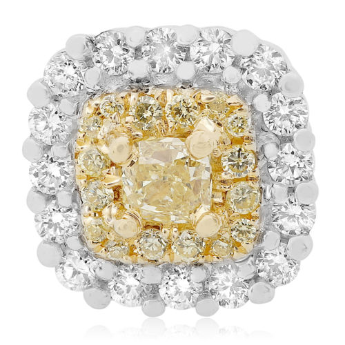 ESTATE 1.13CT WHITE & FANCY YELLOW DIAMOND 18KT TWO TONE GOLD HALO STUD EARRINGS