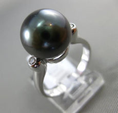 ESTATE .04CT DIAMOND 14KT WHITE GOLD AAA TAHITIAN PEARL 3D ETOILE 3 STONE RING