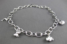 ESTATE EXTRA LONG 14KT WHITE GOLD ITALIAN MULTI CHARM FUN ANKLE BRACELET #23677