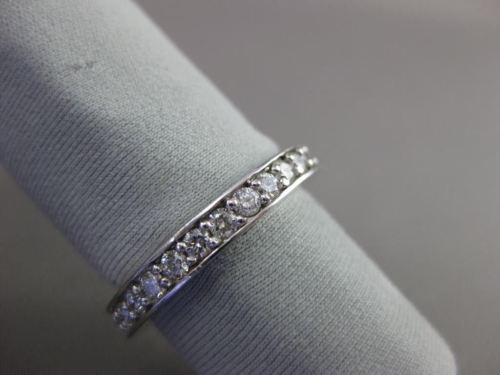 ESTATE 1.20CT ROUND DIAMOND 14KT WHITE GOLD PRONG CHANNEL ETERNITY RING #18598