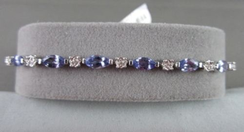 ANTIQUE 4.65CTW 18KT DIAMOND & TANZONAITE WHITE GOLD BRACELET