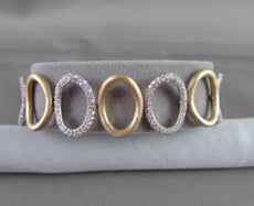 ANTIQUE 2.73CTW WIDE 14KT DIAMOND LINK CIRCULAR WHITE & YELLOW GOLD BRACELET