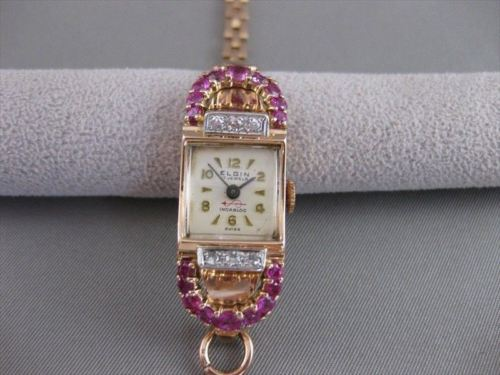 ANTIQUE 1.40CTW OLD MINE CUT DIAMOND RUBY 14KT WHITE ROSE GOLD ELGIN WATCH #2518