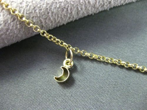 ESTATE LONG 18KT YELLOW GOLD MOON BY THE YARD CHARM WRIST / ANKLE BRACELET 24697