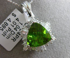 ESTATE WIDE 5.05CT DIAMOND & PERIDOT 14K WHITE GOLD MULTI SHAPE FLOATING PENDANT