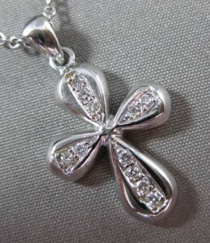 ANTIQUE .12CT DIAMOND 18KT WHITE GOLD HANDCRAFTED FLOATING CROSS PENDANT #11570