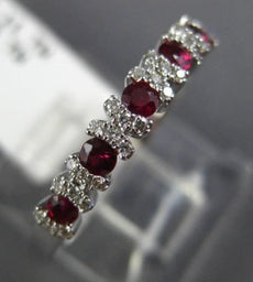 ESTATE .64CT DIAMOND & RUBY 18KT WHITE GOLD SEMI BEZEL WEDDING ANNIVERSARY RING
