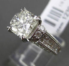 ESTATE LARGE 3.43CT DIAMOND 18KT WHITE GOLD 3D FILIGREE MILGRAIN ENGAGEMENT RING