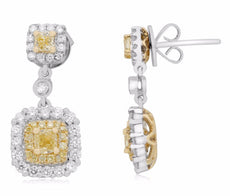 1.73CT WHITE & FANCY YELLOW DIAMOND 18K 2 TONE GOLD ETOILE HALO HANGING EARRINGS