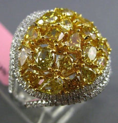 ESTATE MASSIVE 4.40CT INTENSE FANCY YELLOW DIAMOND 18KT GOLD 3D DOUBLE HALO RING