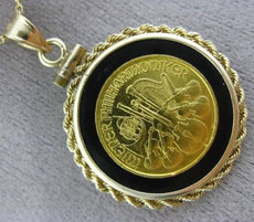 LARGE ONYX 22K & 14K YELLOW GOLD 1991 WIENER PHILHARMONIKER MUSICAL COIN PENDANT