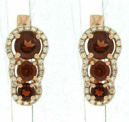 1.39CT DIAMOND & AAA GARNET 14K ROSE GOLD 3D ROUND JOURNEY HALO HANGING EARRINGS