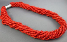 ANTIQUE AAA CORAL STAINLESS STEEL 3D MULTI STRAND BEADED BOW NECKLACE #25872
