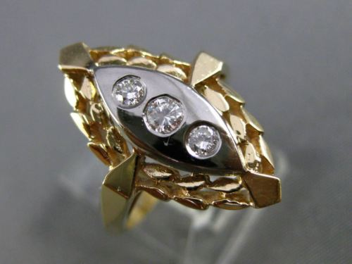 ANTIQUE .10CT DIAMOND 14KT WHITE & YELLOW GOLD 3 STONE ETOILE FLORAL RING #21030