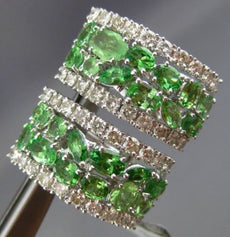 ESTATE WIDE 4.19CT DIAMOND & TSAVORITE 18KT WHITE GOLD UMBRELLA CLIP ON EARRINGS