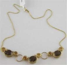 ANTIQUE 14KT YELLOW FILIGREE SMOKEY TOPAZ & CITRINE DROP NECKLACE