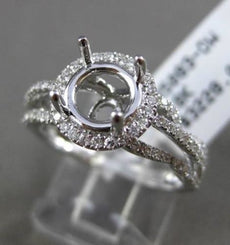 ESTATE LARGE .48CT DIAMOND 18KT WHITE GOLD HALO SEMI MOUNT ENGAGEMENT RING