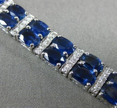 ESTATE WIDE 25.48CT DIAMOND & SAPPHIRE 14K WHITE GOLD DOUBLE ROW TENNIS BRACELET