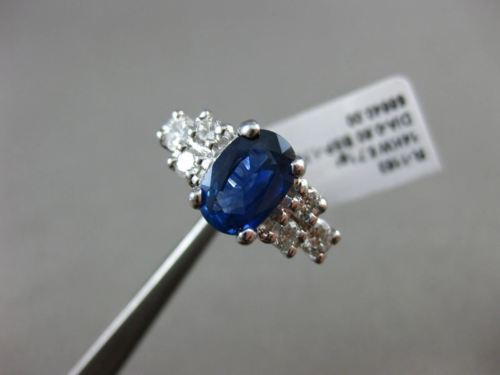 WIDE 2.38CT DIAMOND & AAA KASHMIR SAPPHIRE 14KT WHITE GOLD OVAL ENGAGEMENT RING