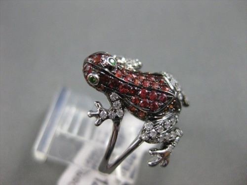 ESTATE WIDE .84CTW EMERALD GARNET & DIAMOND 18KT WHITE GOLD FUN FROG RING