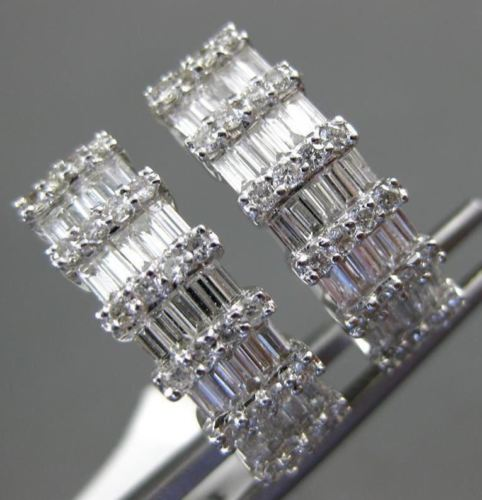 ESTATE WIDE 1.92CT ROUND & BAGUETTE DIAMOND 18KT WHITE GOLD 3D HANGING EARRINGS