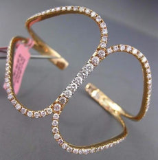 WIDE 2.82CT WHITE & PINK DIAMOND 18KT ROSE GOLD 3D INFINITY CUFF BANGLE BRACELET