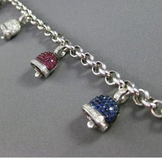 ESTATE LARGE 2.93CT DIAMOND & MULTI GEM 14K WHITE GOLD LUCKY BELL CHARM BRACELET