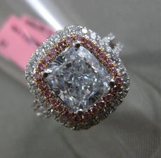 ESTATE MASSIVE GIA 3.87CT WHITE & BLUE & PINK DIAMOND 18K GOLD ENGAGEMENT RING