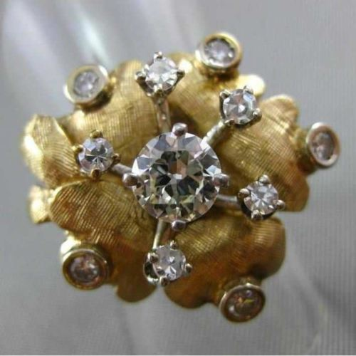 ANTIQUE LARGE .83CT ROUND OLD MINE DIAMOND 14KT WHITE & YELLOW GOLD FLOWER RING