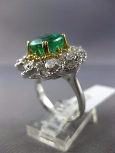EXTRA LARGE 5.57CT DIAMOND & EMERALD 14K TWO TONE GOLD FLOWER INFINITY LOVE RING