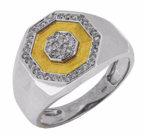 ESTATE WIDE .33CT DIAMOND 14KT WHITE & YELLOW GOLD 3D OCTAGON CLASSIC MENS RING