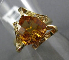 ESTATE LARGE 2.87CT DIAMOND & AAA CITRINE 14KT YELLOW GOLD 3D TRILLION FUN RING