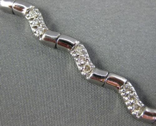 ESTATE 1.20CT DIAMOND 14KT WHITE GOLD 3D BY THE YARD WAVE PAVE TENNIS BRACELET