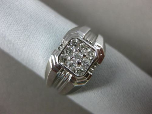 ESTATE WIDE .50CT DIAMOND 14KT WHITE GOLD SQUARE CLUSTER MATTE & SHINY MENS RING