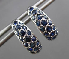 ESTATE WIDE 1.10CT AAA EXTRA FACET SAPPHIRE 14KT WHITE GOLD 3D HUGGIE EARRINGS