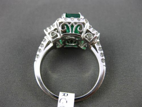 ANTIQUE 2.80CT DIAMOND & EMERALD 18K WHITE GOLD 3D FILIGREE HALO ENGAGEMENT RING