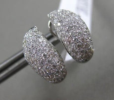 ESTATE WIDE .83CT DIAMOND 18KT WHITE GOLD 3D CLASSIC PAVE LEAF CLIP ON EARRINGS
