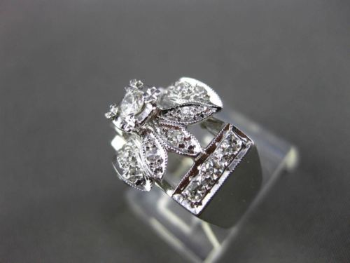 ANTIQUE .35CT OLD MINE DIAMOND 14KT WHITE GOLD FRIENDSHIP ENGAGEMENT RING #16788