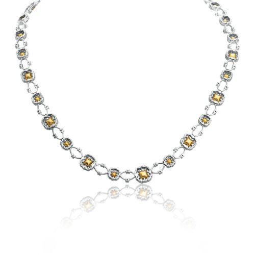 12.16CT WHITE & FANCY YELLOW DIAMOND 18K 2 TONE GOLD 3D FLOWER ETERNITY NECKLACE