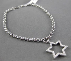 ESTATE .10CT DIAMOND 14KT WHITE GOLD STAR OF DAVID MAGEN DAVID CHARM BRACELET