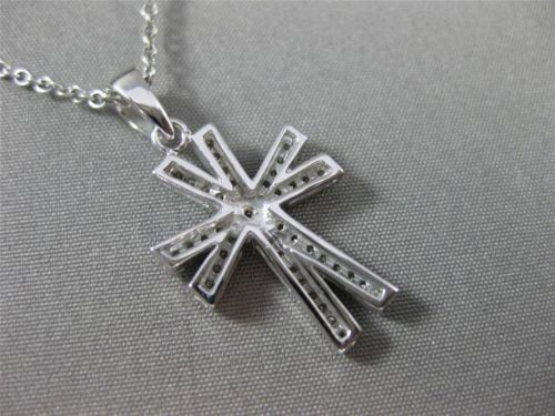 ANTIQUE .35CT DIAMOND 14KT WHITE GOLD CLASSIC 3 DIMENSIONAL CROSS PENDANT #12340
