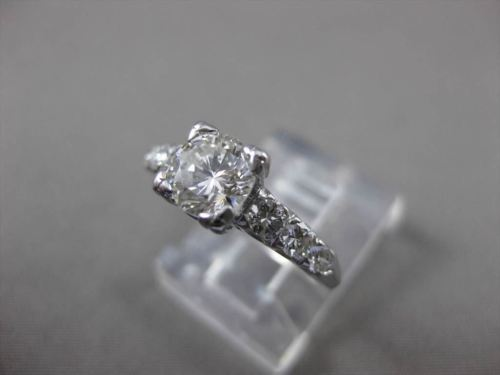 ANTIQUE 1.12CT ROUND DIAMOND PLATINUM FISHTAIL ENGAGEMENT RING G/H VS #23269
