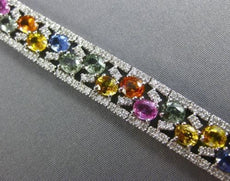 ESTATE WIDE 22.37CT DIAMOND & AAA MULTI COLOR SAPPHIRE 14KT WHITE GOLD BRACELET