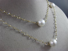 ESTATE LARGE & LONG AAA SOUTH SEA PEARL & WHITE TOPAZ 14KT YELLOW GOLD NECKLACE