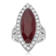GIA LARGE 9.11CT DIAMOND & AAA RUBY PLATINUM MARQUISE SHAPE HALO FILIGREE RING