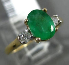 ESTATE .86CT ROUND DIAMOND & OVAL EMERALD 14KT 2 TONE GOLD 3 STONE PROMISE RING