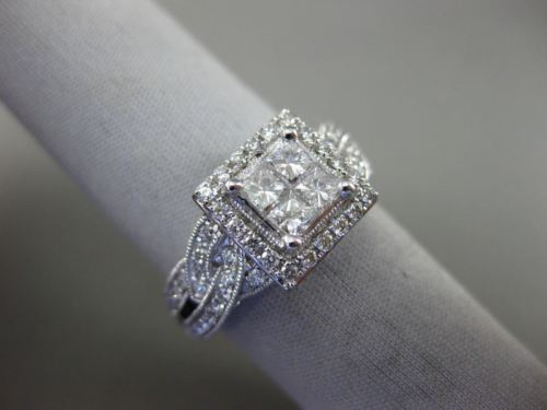 LARGE .87CT ROUND & PRINCESS DIAMOND 14KT WHITE GOLD SQUARE HALO ENGAGEMENT RING